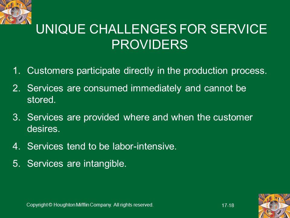 UNIQUE CHALLENGES FOR SERVICE PROVIDERS