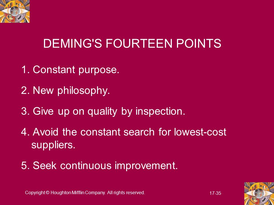 apply deming s 14 points in academic environment Bus 445 week 1 discussion 2 – deming select four (4) of deming's 14 points and apply to an academic environment discuss how learning and classroom performance can be improved by applying deming's philosophy.