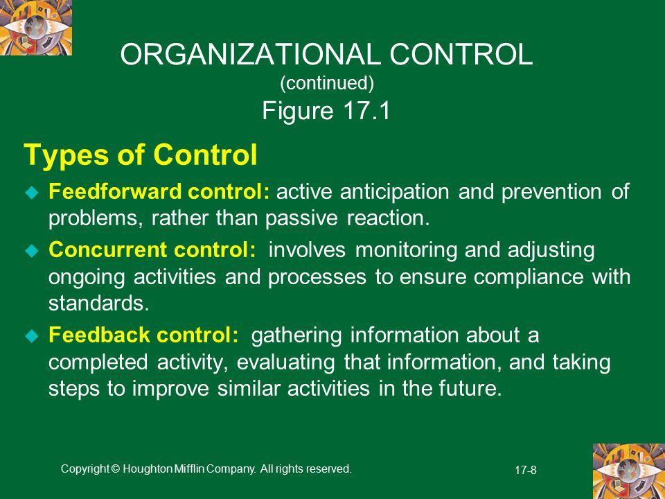 ORGANIZATIONAL CONTROL (continued) Figure 17.1