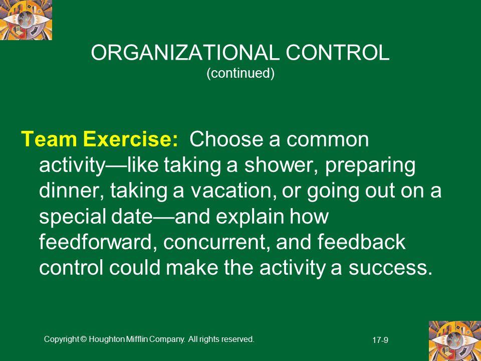 ORGANIZATIONAL CONTROL (continued)