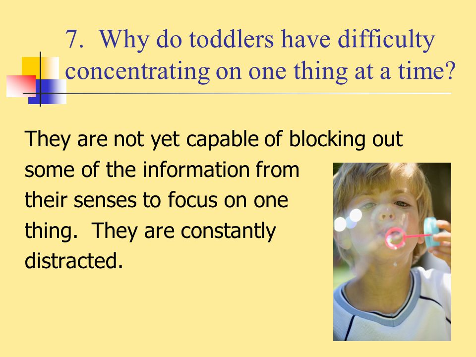 7. Why do toddlers have difficulty concentrating on one thing at a time
