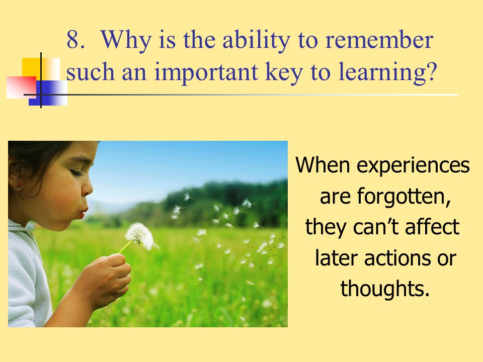 8. Why is the ability to remember such an important key to learning