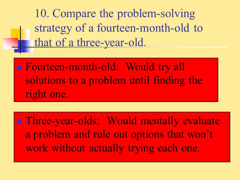 10. Compare the problem-solving strategy of a fourteen-month-old to that of a three-year-old.