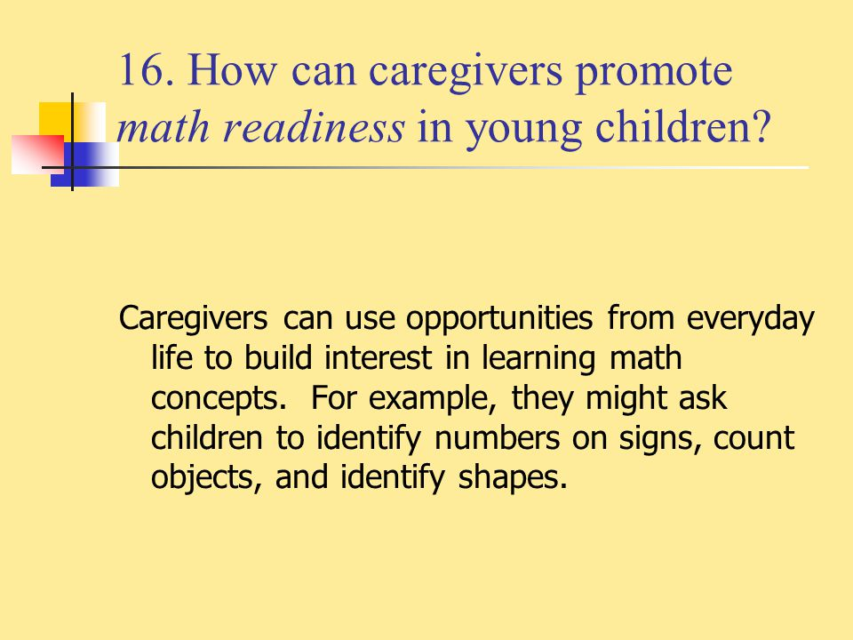 16. How can caregivers promote math readiness in young children