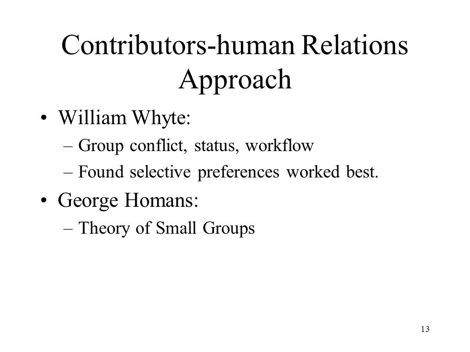 Contributors-human Relations Approach
