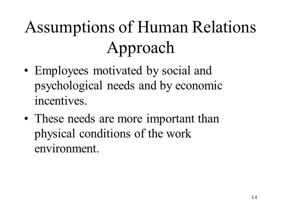 Assumptions of Human Relations Approach