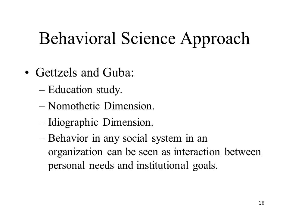 Behavioral Science Approach