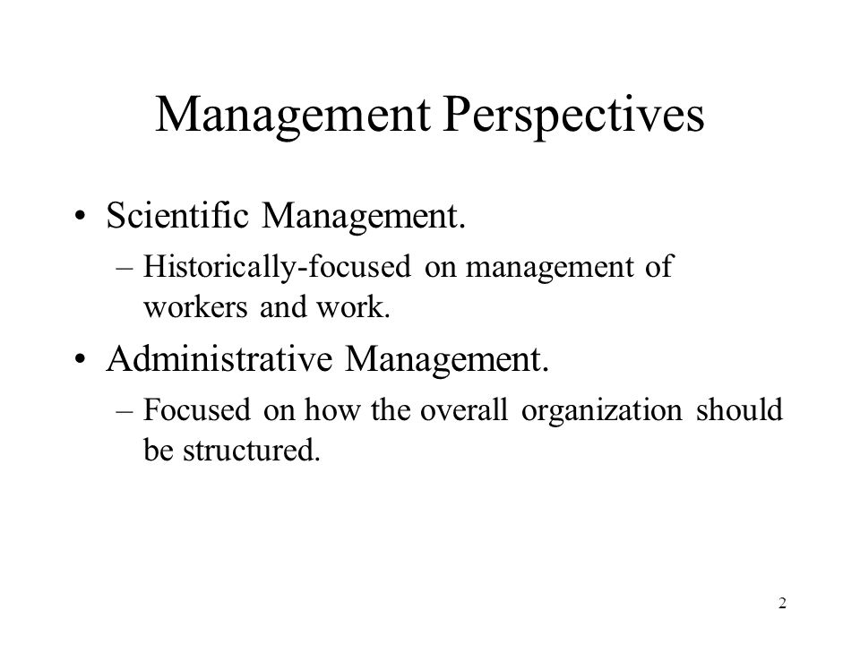 Management Perspectives