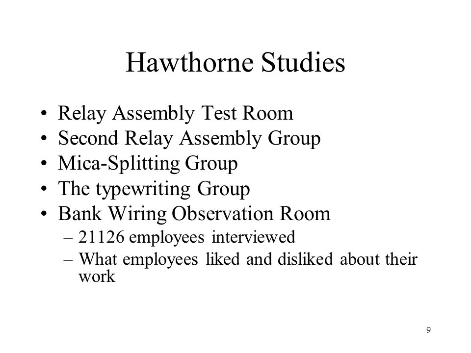 Hawthorne Studies Relay Assembly Test Room Second Relay Assembly Group