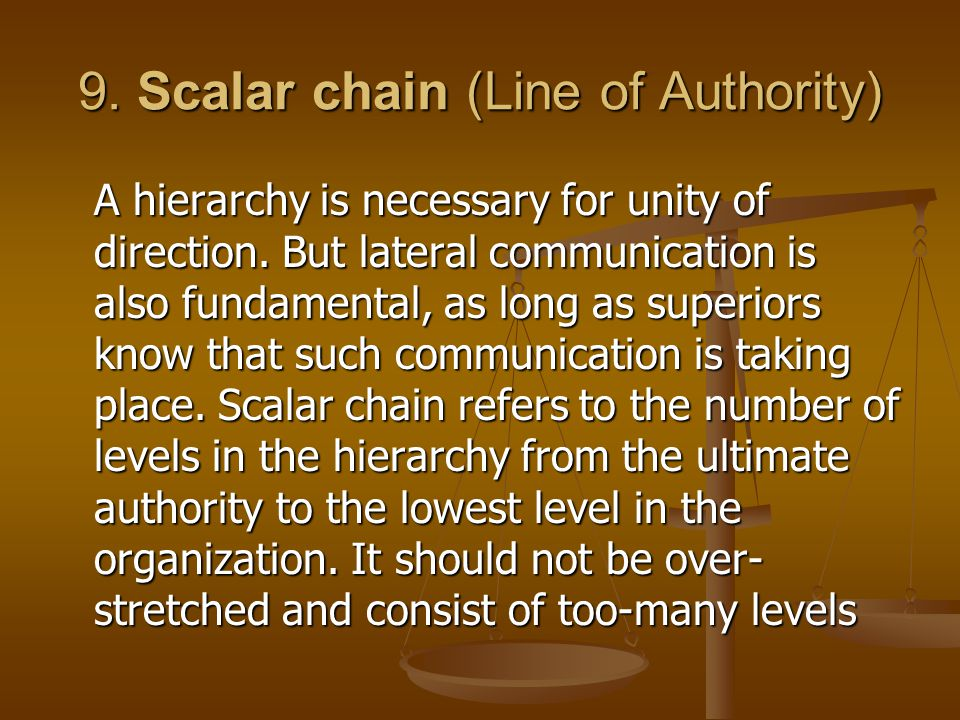 9. Scalar chain (Line of Authority)