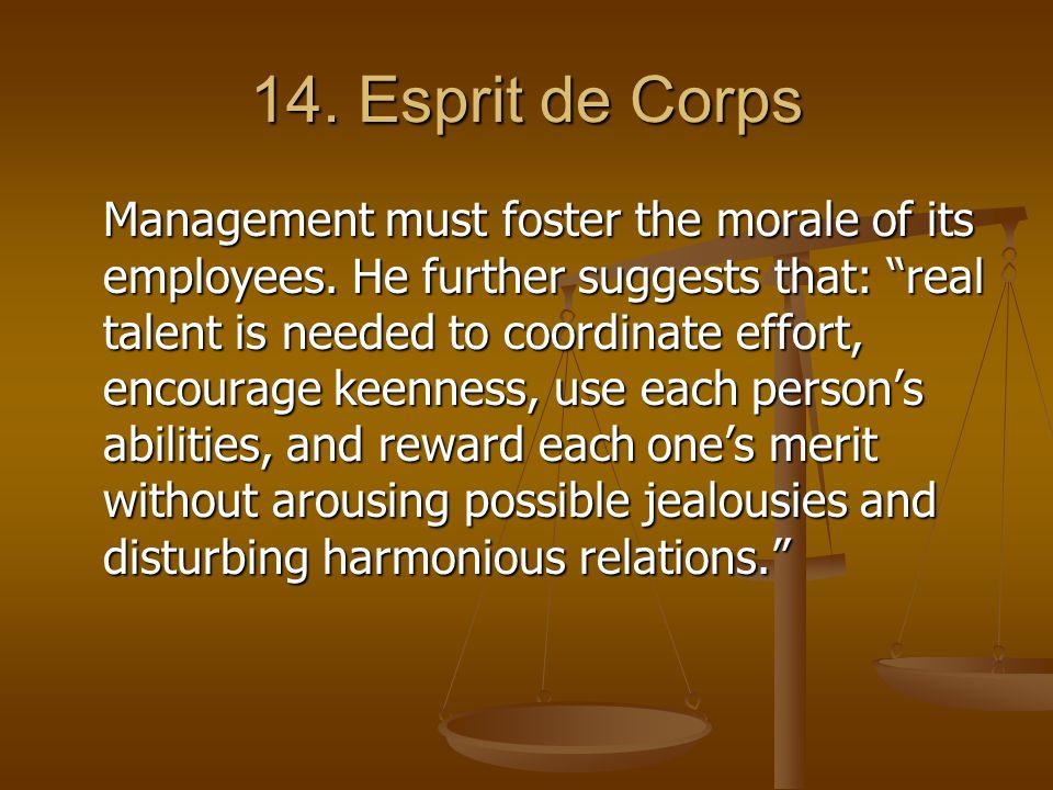 14. Esprit de Corps