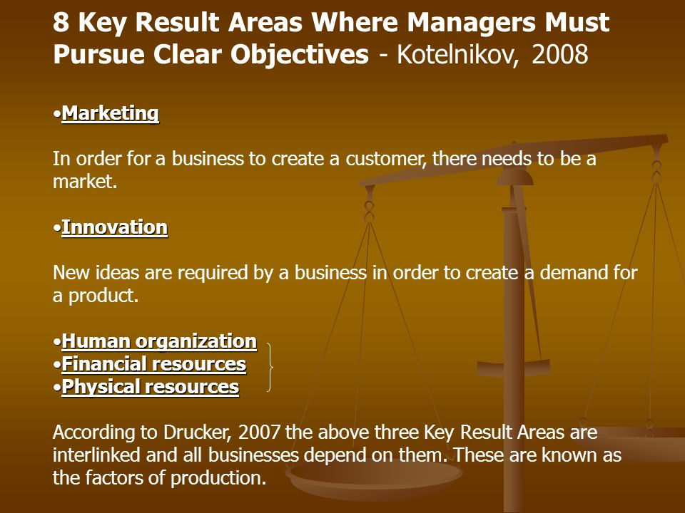 8 Key Result Areas Where Managers Must Pursue Clear Objectives - Kotelnikov, 2008