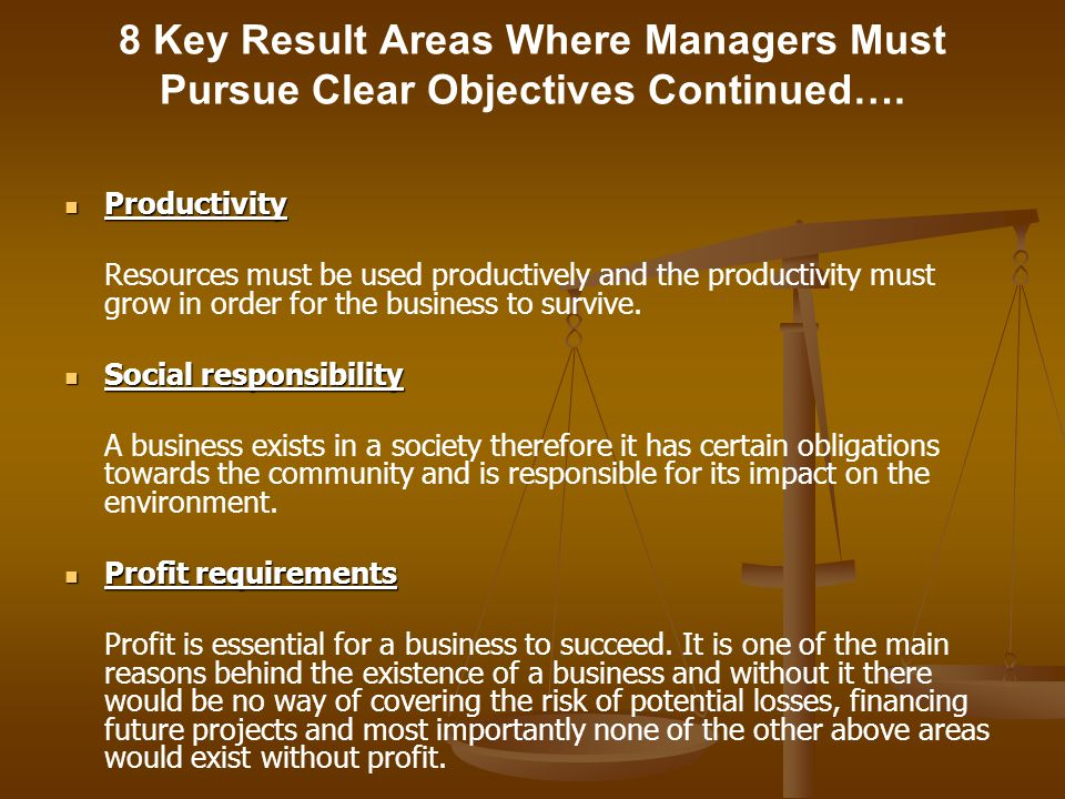 8 Key Result Areas Where Managers Must Pursue Clear Objectives Continued….