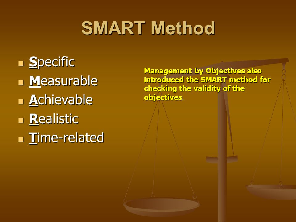 SMART Method Specific Measurable Achievable Realistic Time-related