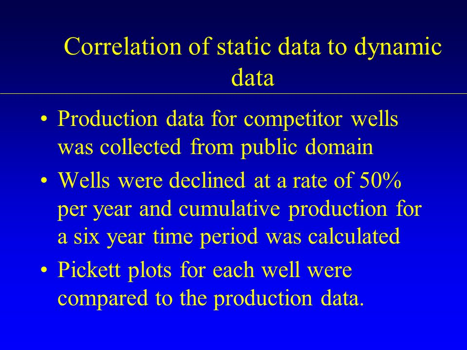 Correlation of static data to dynamic data