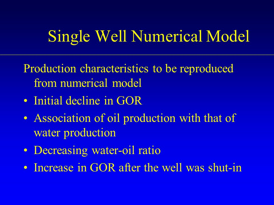 Single Well Numerical Model