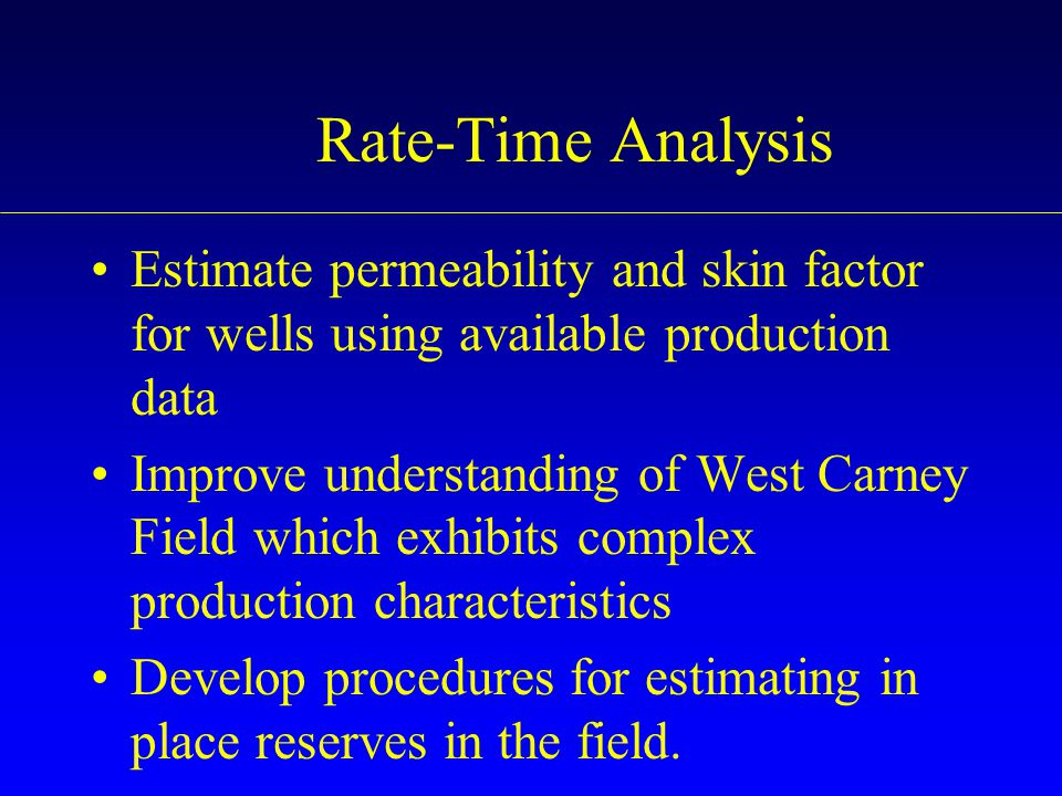 Rate-Time Analysis Estimate permeability and skin factor for wells using available production data.