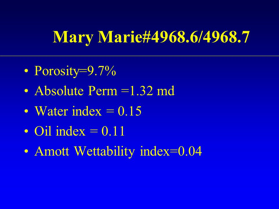 Mary Marie#4968.6/4968.7 Porosity=9.7% Absolute Perm =1.32 md
