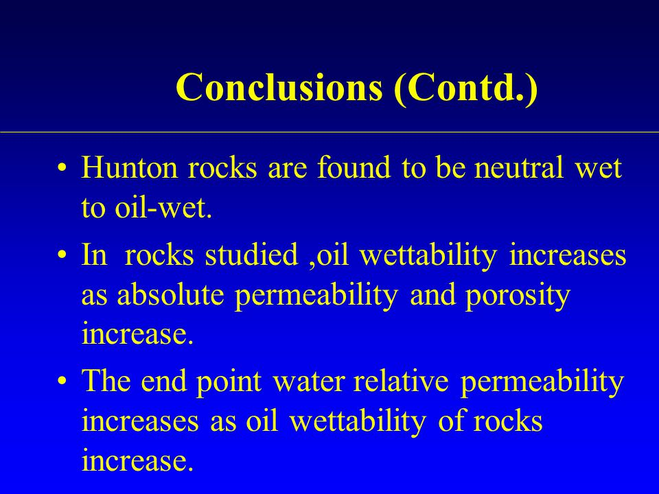 Conclusions (Contd.) Hunton rocks are found to be neutral wet to oil-wet.
