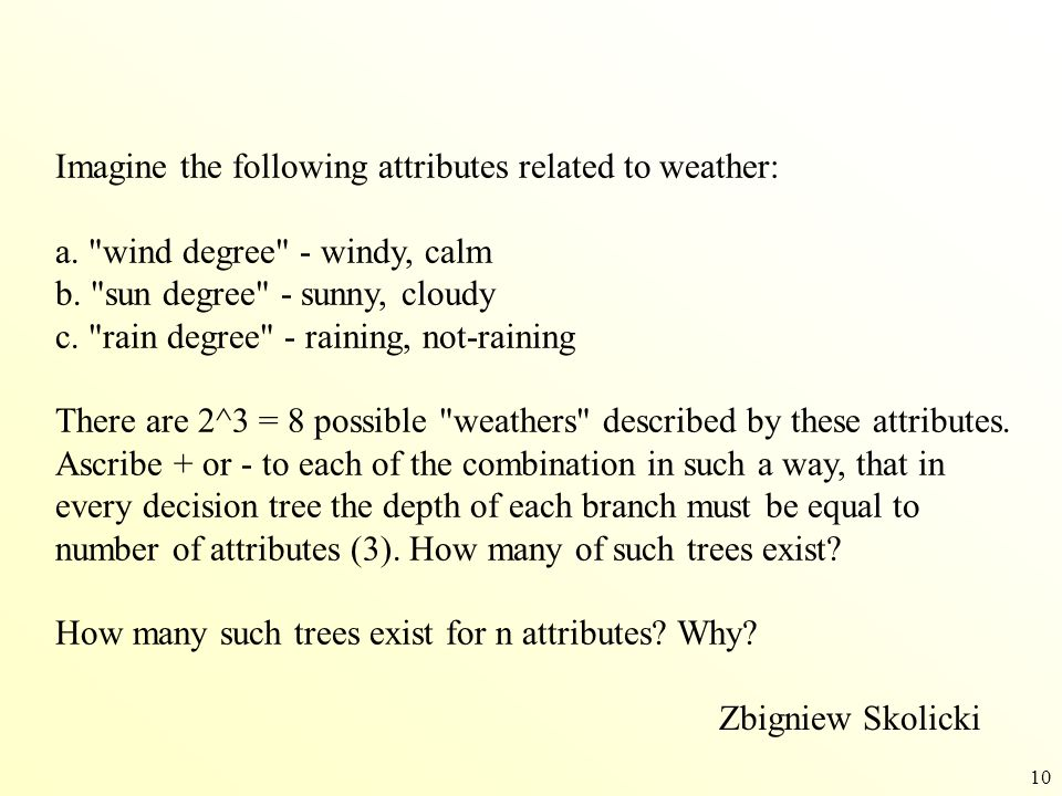 Imagine the following attributes related to weather: