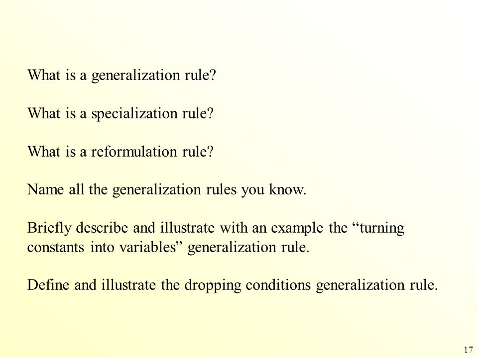 What is a generalization rule