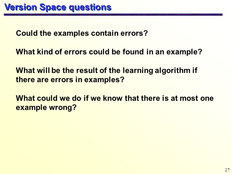Version Space questions
