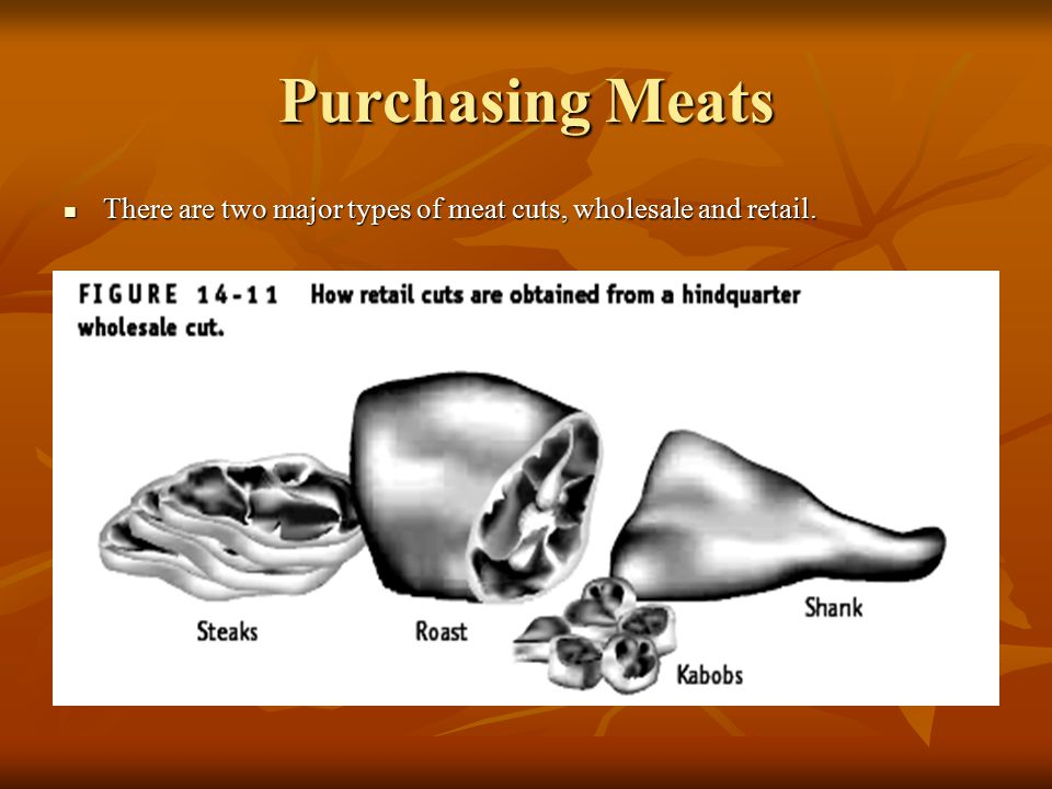 Purchasing Meats There are two major types of meat cuts, wholesale and retail.