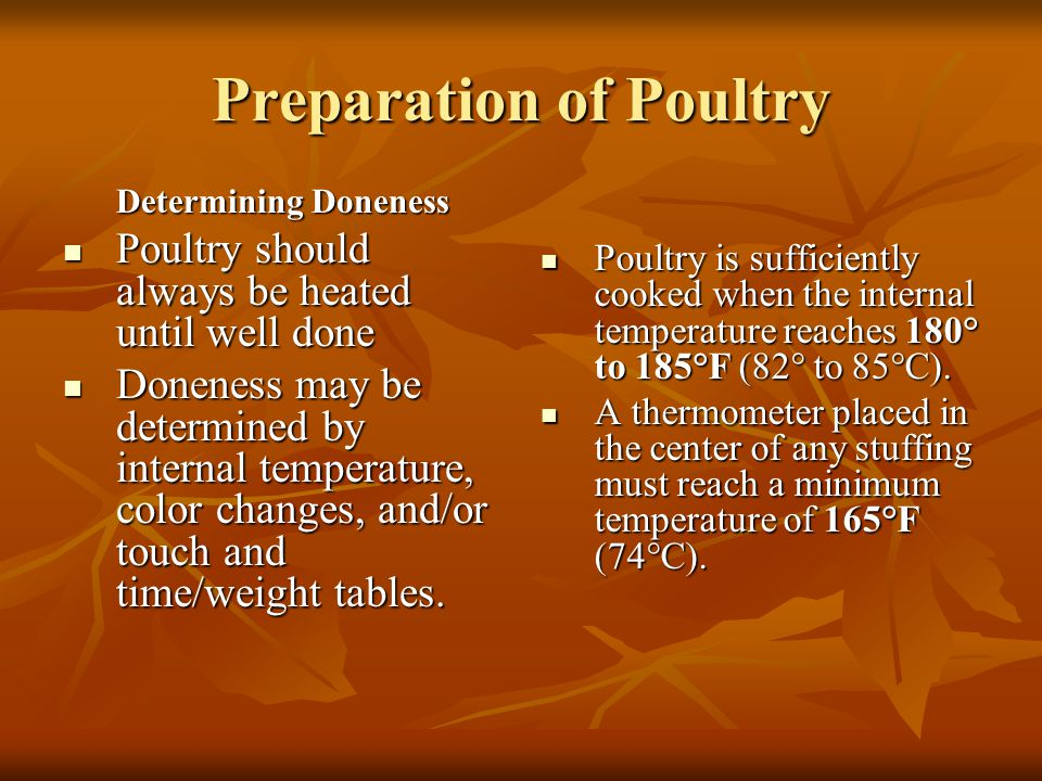 Preparation of Poultry