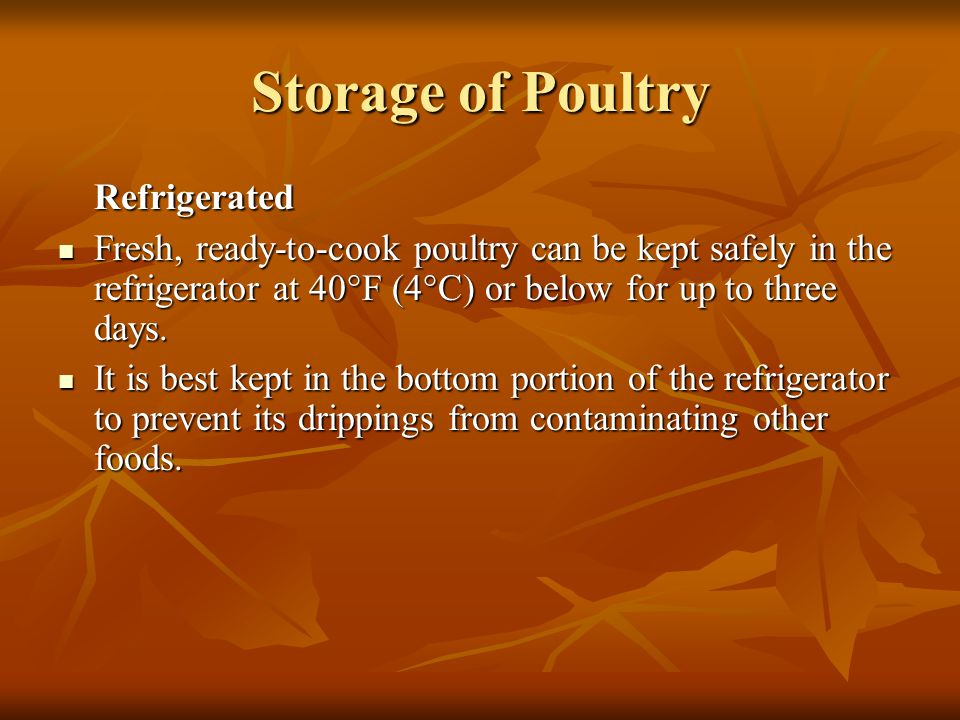 Storage of Poultry Refrigerated