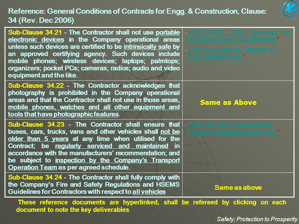 Reference: General Conditions of Contracts for Engg