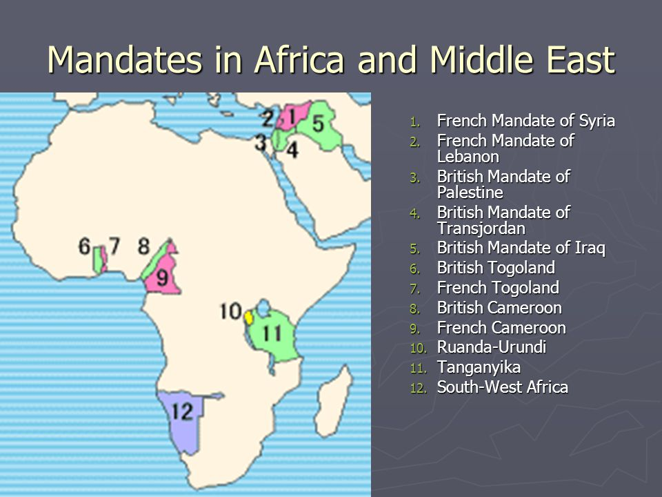 Mandates in Africa and Middle East