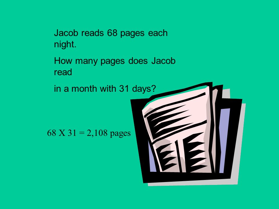 Jacob reads 68 pages each night.