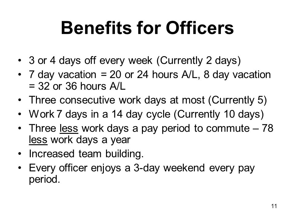 Benefits for Officers 3 or 4 days off every week (Currently 2 days)