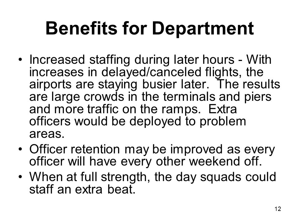 Benefits for Department