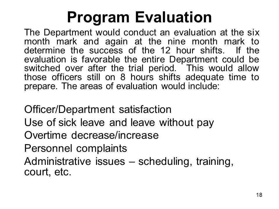 Program Evaluation Officer/Department satisfaction