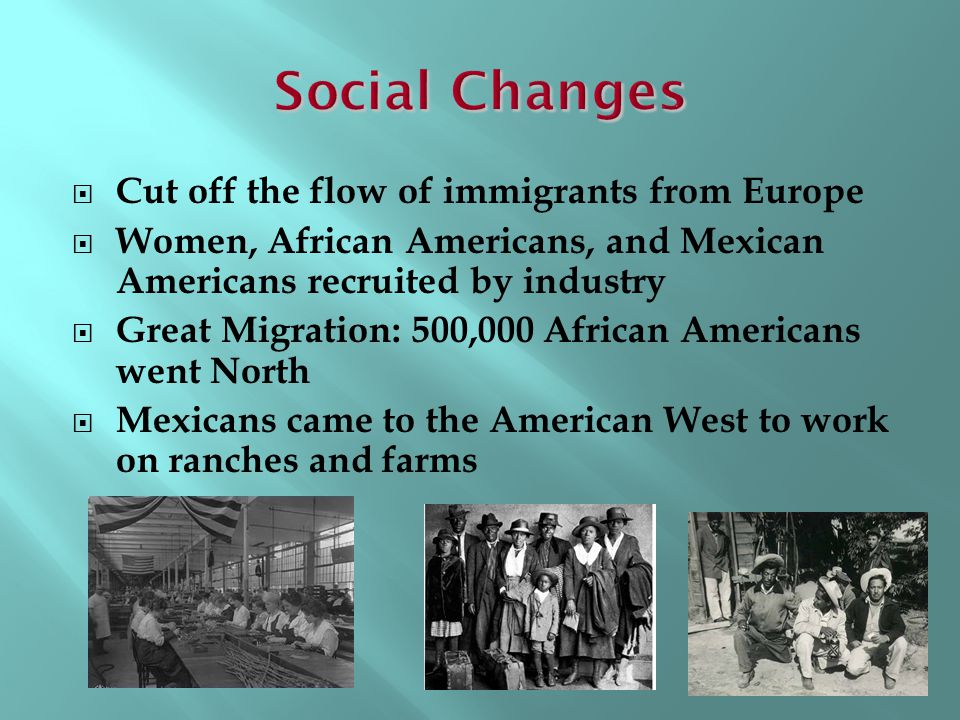 Social Changes Cut off the flow of immigrants from Europe
