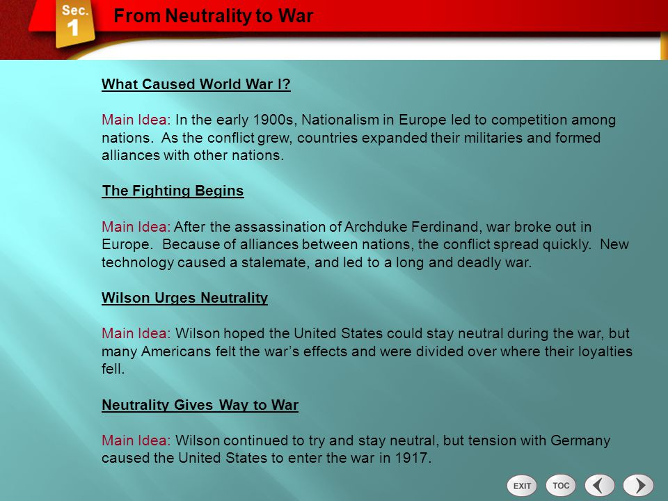 From Neutrality to War What Caused World War I