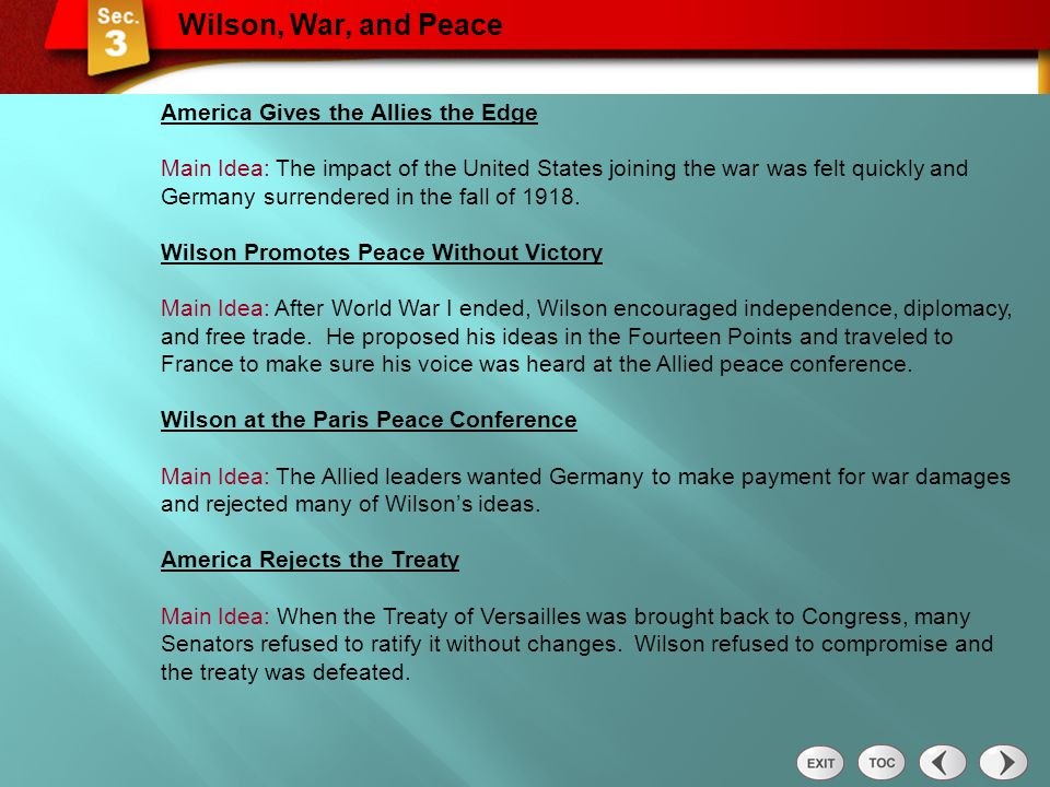 Wilson, War, and Peace America Gives the Allies the Edge