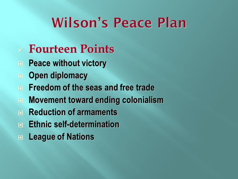 Wilson's Peace Plan Fourteen Points Peace without victory