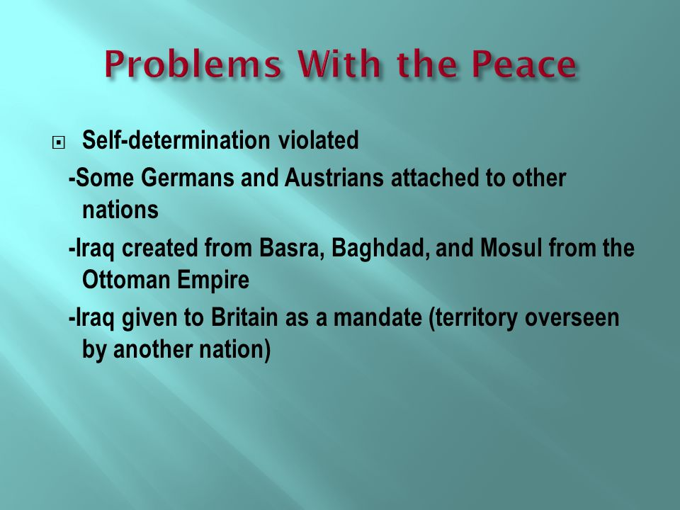 Problems With the Peace
