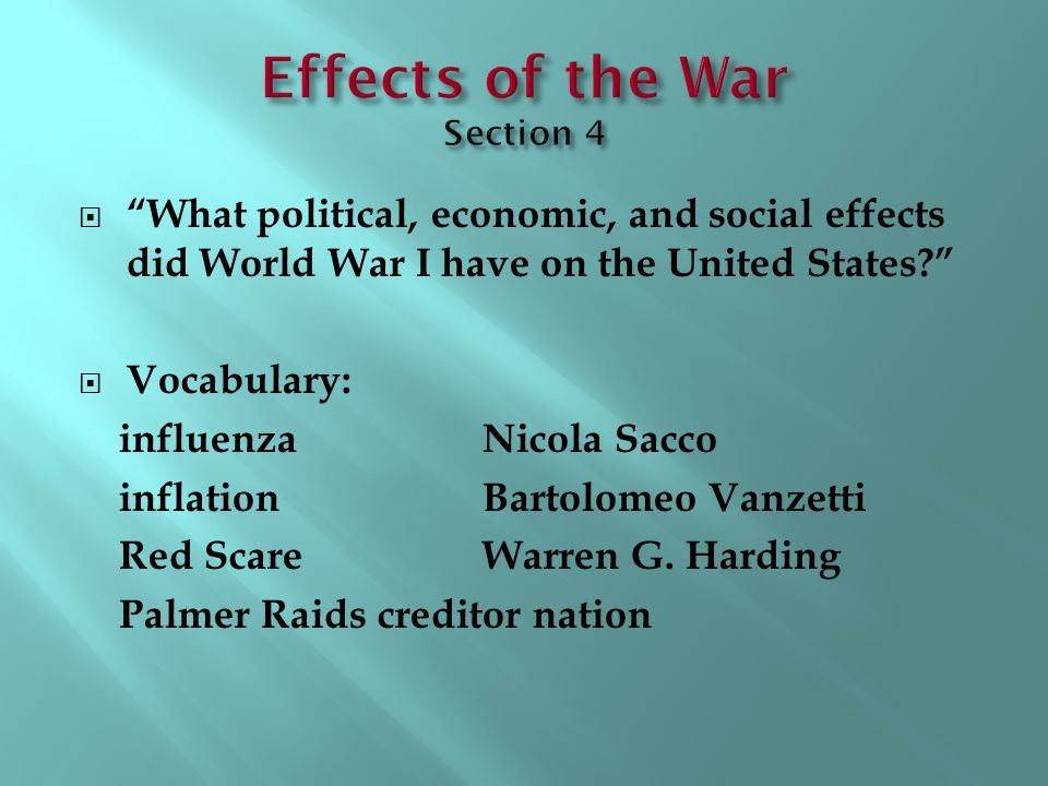 Effects of the War Section 4