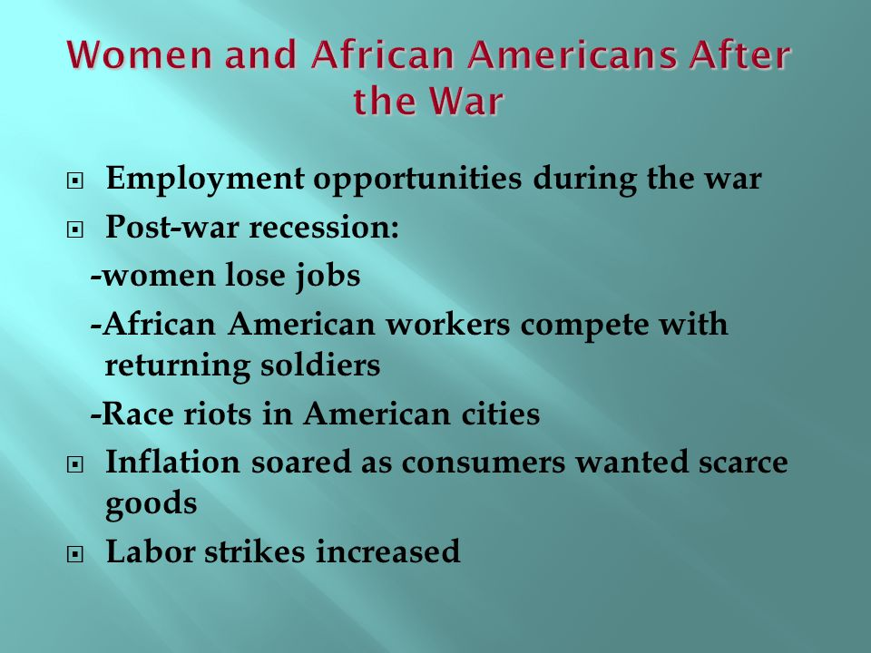 Women and African Americans After the War