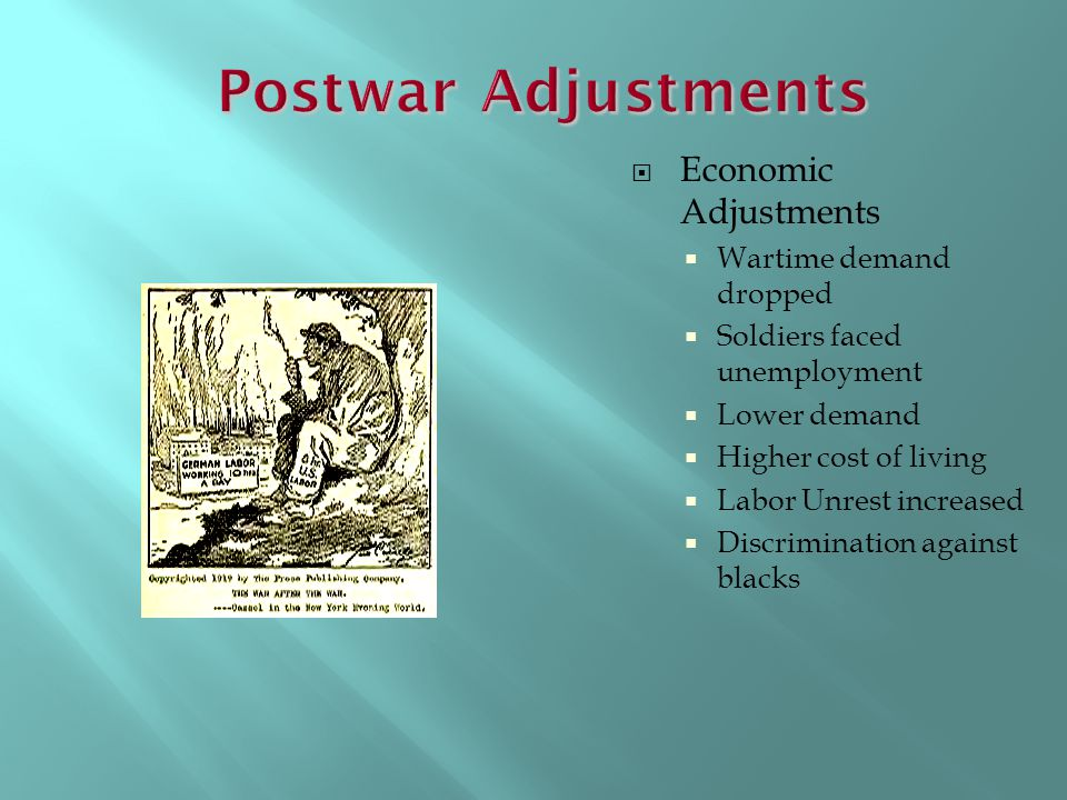 Postwar Adjustments Economic Adjustments Wartime demand dropped