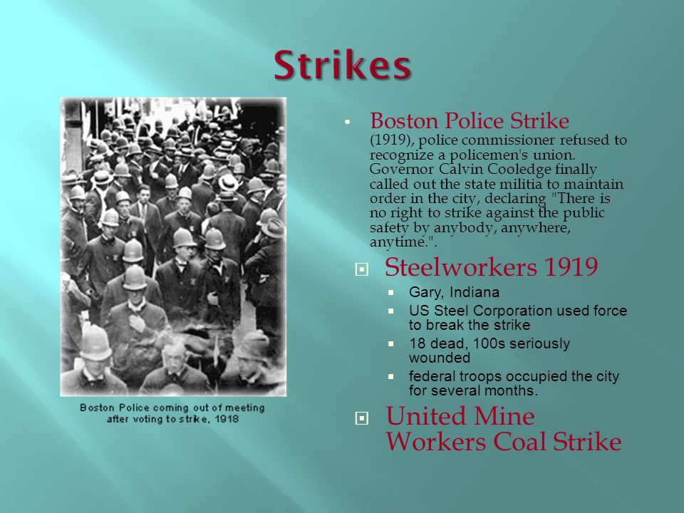 Strikes Steelworkers 1919 United Mine Workers Coal Strike