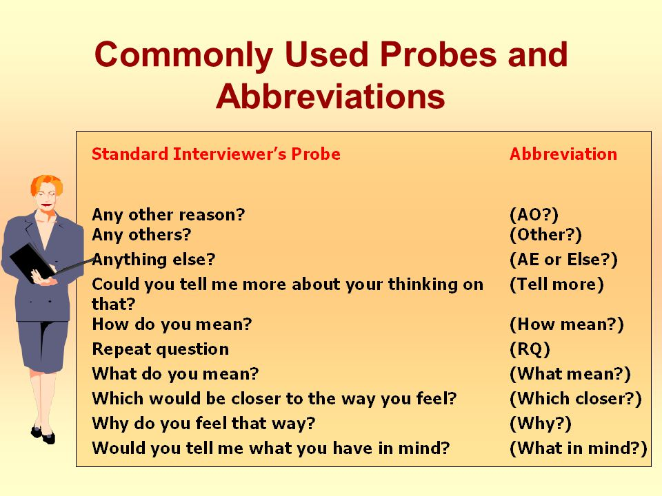 Commonly Used Probes and Abbreviations