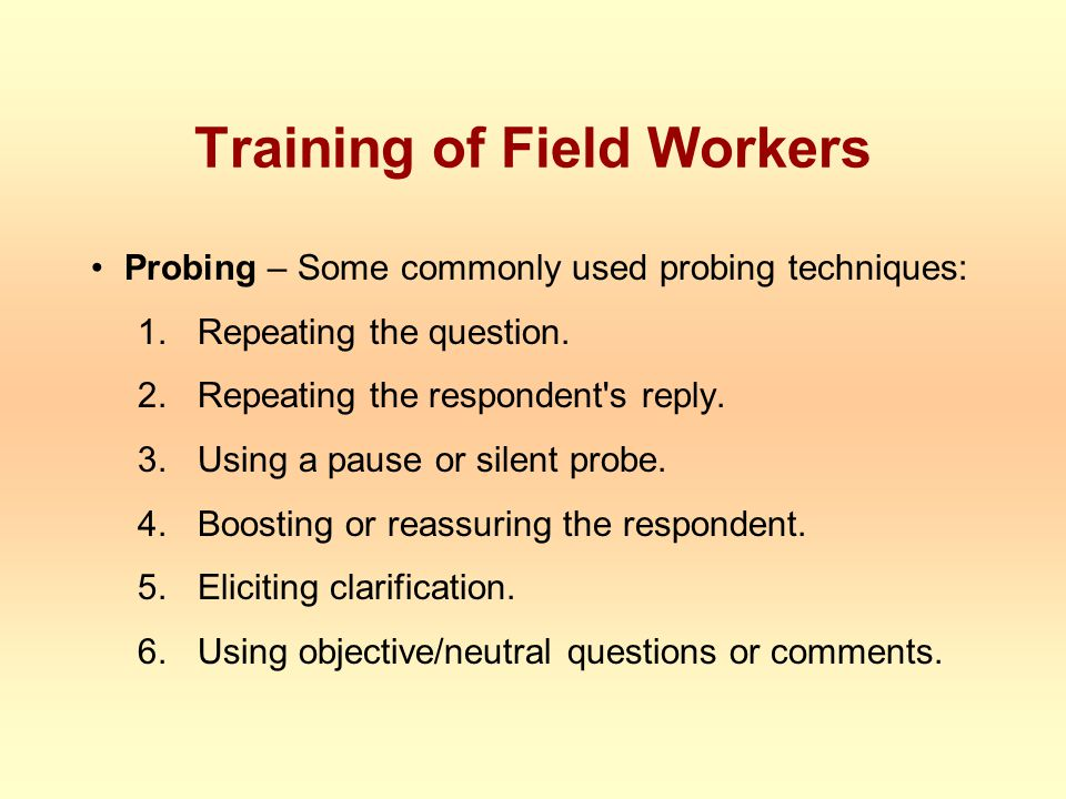 Training of Field Workers