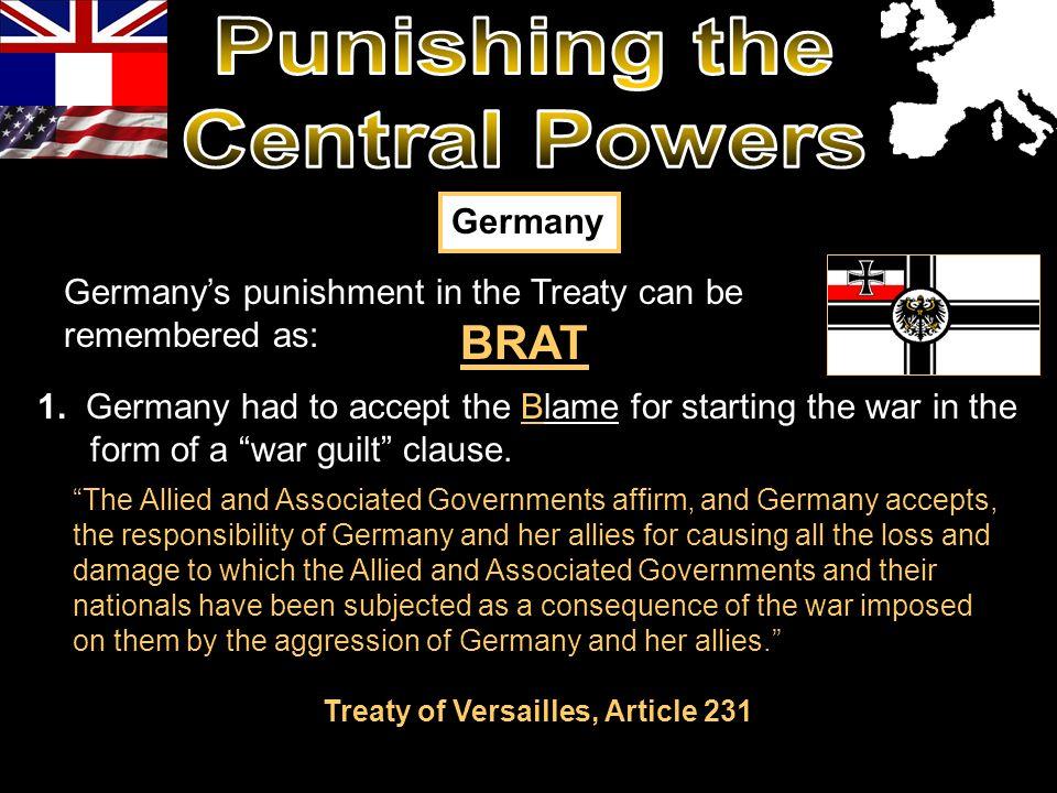 Treaty of Versailles, Article 231