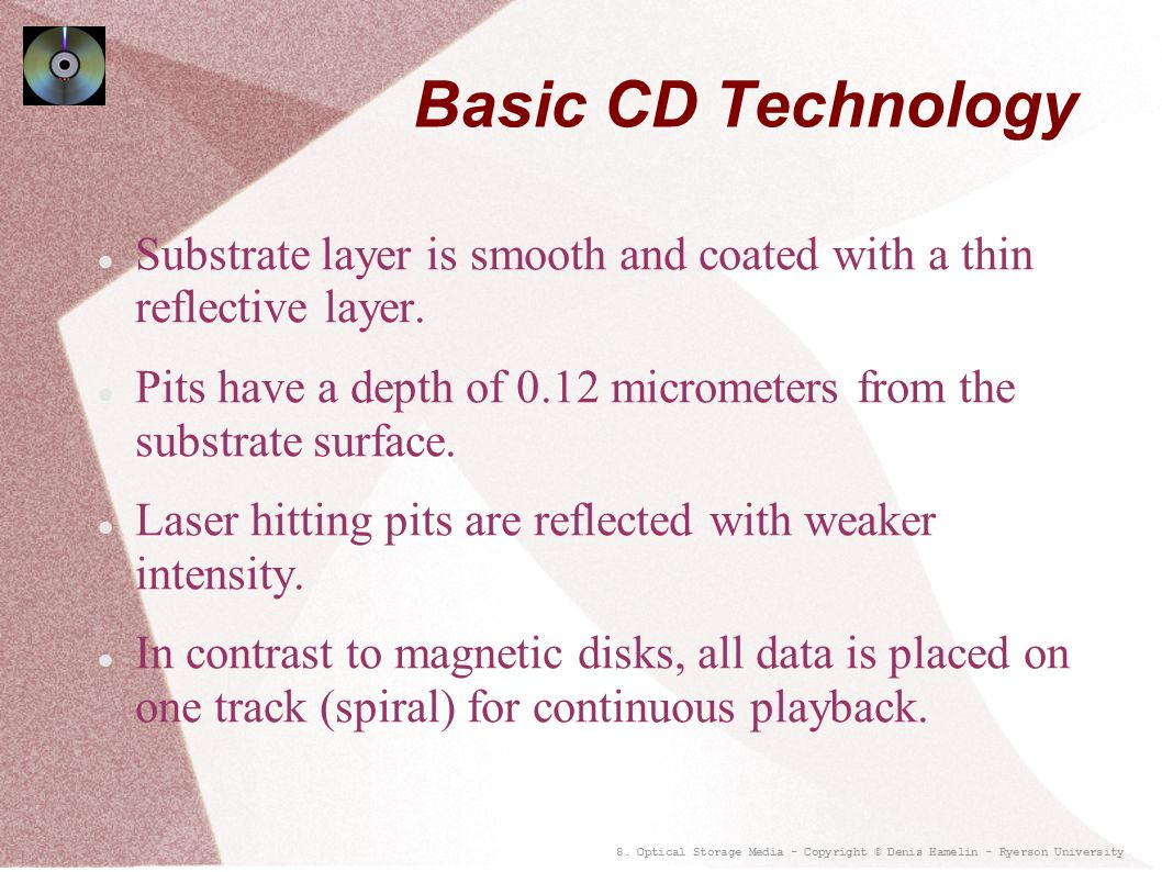 Basic CD Technology Substrate layer is smooth and coated with a thin reflective layer.