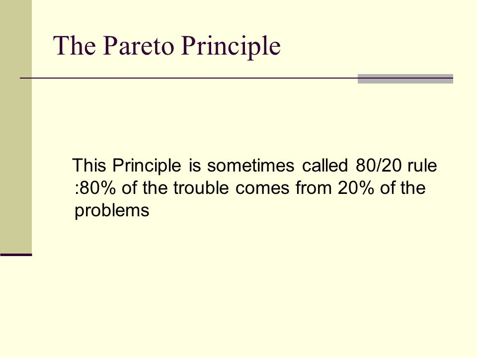 The Pareto Principle This Principle is sometimes called 80/20 rule :80% of the trouble comes from 20% of the problems.
