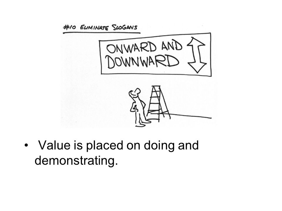 Value is placed on doing and demonstrating.